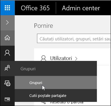Selectați grupuri în panoul de navigare din stânga pentru a accesa grupurile din entitatea găzduită Office 365