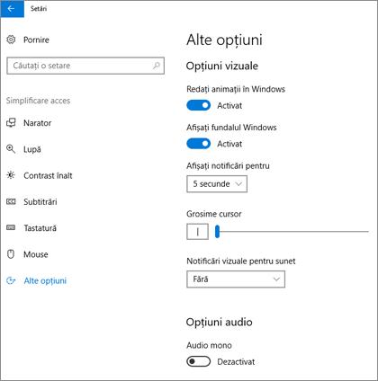 Simplificare acces, panoul Alte opțiuni din setările Windows 10