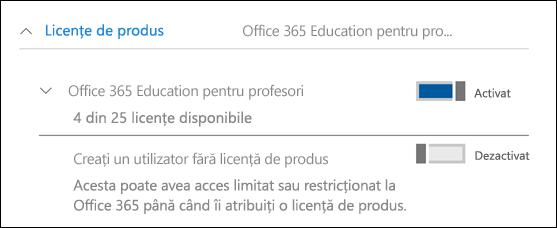 Captură de ecran a adăuga un utilizator în Office 365, afișând secțiunea licență produs extinsă.