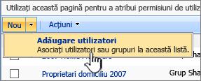 Adăugarea butonului de utilizator pe verticală