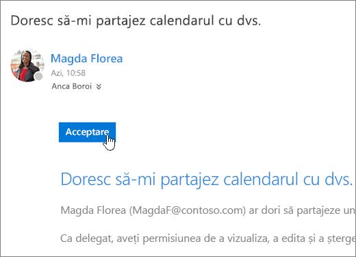 Captură de ecran a unei invitații la calendarul partajat.