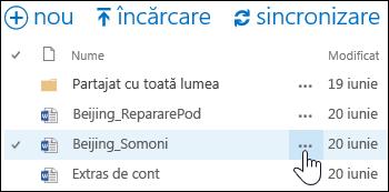Selectați pictograma puncte de suspensie Mai multe de lângă numele documentului în OneDrive pentru business, pentru a deschide fișa de opțiuni suplimentare a documentului