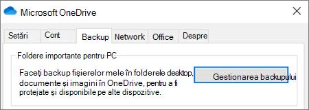 Fila backup din Setări desktop pentru OneDrive