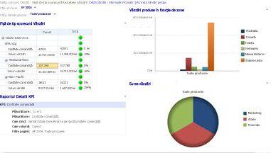 Tabloul de bord Vânzări cu filtrele An fiscal și Vânzări produse aplicate
