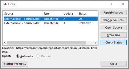 Dialogul editare linkuri din Excel din datele > interogări & conexiuni > editare linkuri