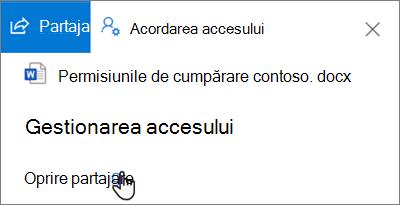 Captură de ecran a Oprire partajare link în panoul de gestionarea accesului în partajate de mine vizualizare în OneDrive pentru Business