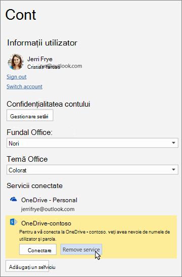 """Panoul cont din aplicațiile Office, evidențiind opțiunea """"eliminare serviciu"""" de sub servicii conectate"""