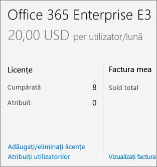 Adăugare/eliminare licențe link în pagina abonamente.
