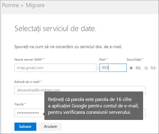 Completați informațiile despre serverul IMAP și informațiile despre cont pentru a vă conecta