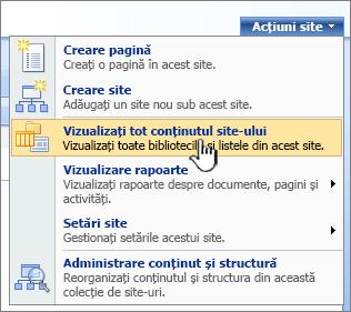 Meniul acțiuni site cu vizualizarea întregului conținut de site evidențiat