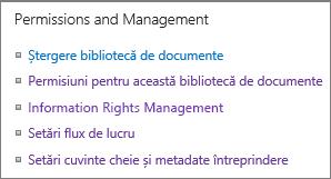 Permisiunile de listă și setările de gestionare a linkurilor