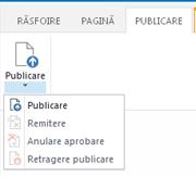Captură de ecran de pe fila publicare, care conține butoane pentru publicare, se elimină publicarea și remiterea unei pagini de publicare pentru aprobare