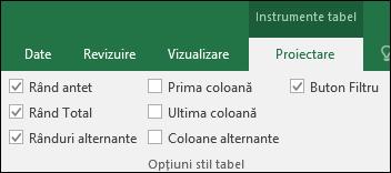 Imagine cu opțiunea Instrumente tabel de pe panglică atunci când este selectată o celulă de tabel
