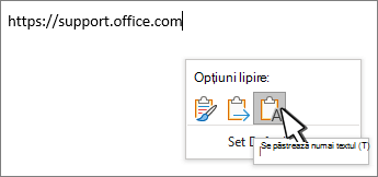 Lipire verticală cu cursorul deasupra textului