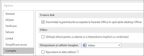 Caseta de dialog Opțiuni cu caseta de selectare Deschidere hyperlinkuri evidențiată