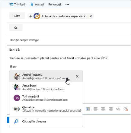Captură de ecran Outlook e-mail caseta de dialog nouă, afișând o @mention în textul mesajului.