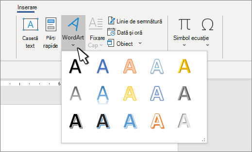 Galeria de stiluri WordArt