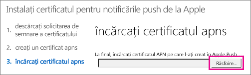 Upload the certificate that you created on the Apple push certificate portal.
