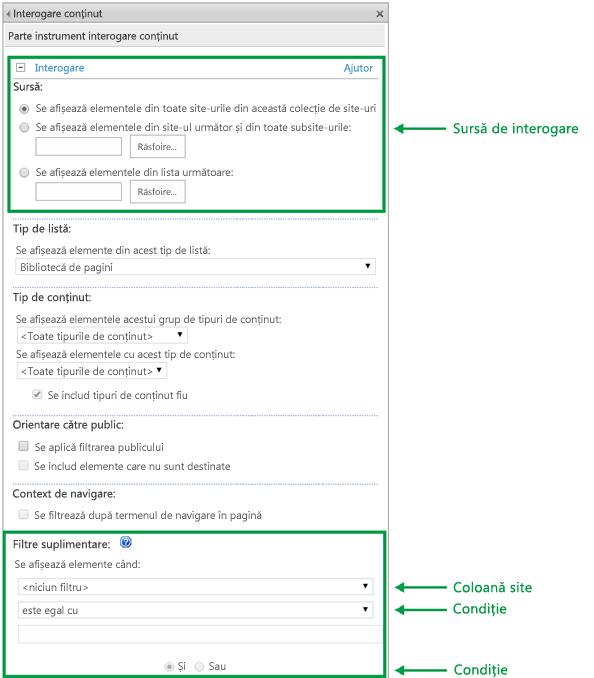 Configurația interogării în partea web Interogare de conținut