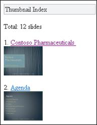 Index imagini reduse din vizualizatorul mobil pentru PowerPoint