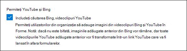Setarea de administrare Microsoft Forms pentru YouTube și Bing