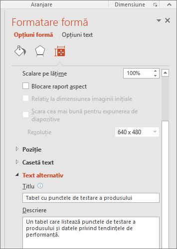 Captură de ecran cu panoul Formatare formă cu casetele de Text alternativ care descriu tabelul selectat