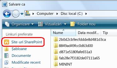 Linkul Site-uri SharePoint din caseta de dialog Salvare ca