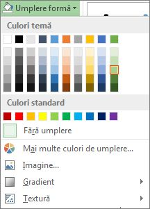 Meniul de opțiuni Umplere formă pentru culori