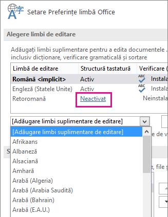 Limba de editare nu este activată