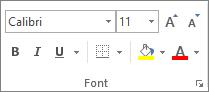 Opțiuni din grupul Font