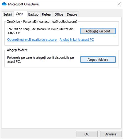 OneDrive cont caseta de dialog Adăugare