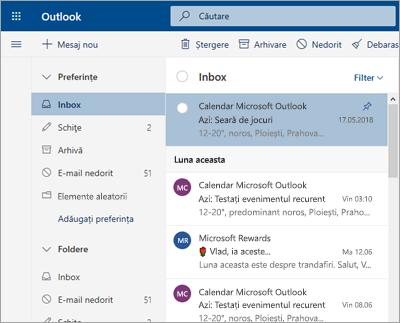 Captură de ecran cu inboxul, cu caracteristica Mesaje prioritare dezactivată