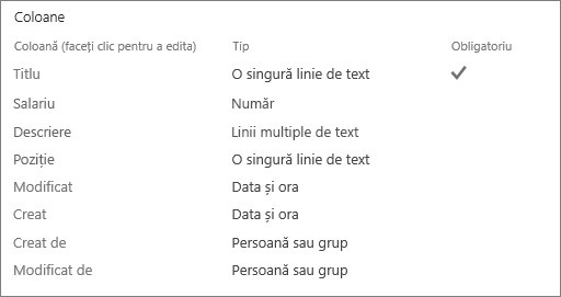 Editarea unei coloane de listă
