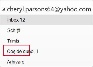 Dacă vedeți folderul Trash (resturi), utilizați un cont IMAP.