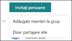 Invitarea persoanelor la site-ul SharePoint