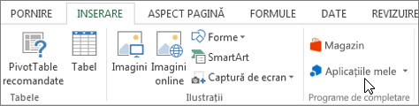 Captură de ecran a unei secțiuni din fila Inserare pe panglica Excel cu o cursorul indicând spre aplicațiile mele. Selectați aplicațiile mele pentru aplicații access pentru Excel.