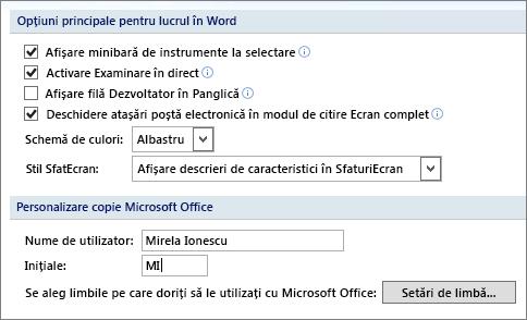 Opțiuni populare Word 2007