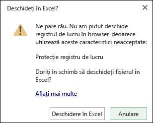 Caseta de dialog atunci când deschideți un registru de lucru protejate prin parolă în Excel Online