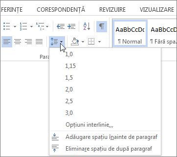 Captură de ecran din fila pornire din Word, afișând meniul interlinie și Spațiere paragraf.