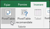 Faceți clic pe Inserare > PivotTable pentru a insera un raport PivotTable necompletat