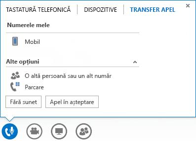 Captură de ecran a meniului de transfer al apelului