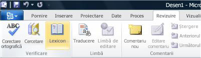 Visio Ribbon Review tab Thesaurus