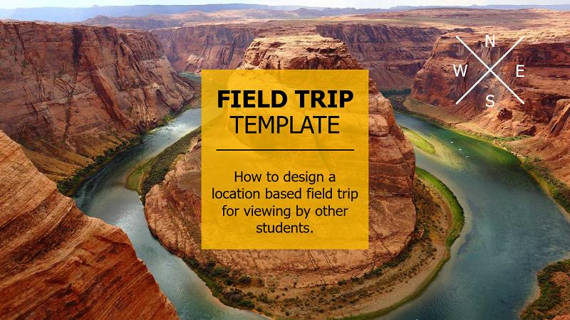 Captură de ecran cu coperta unei prezentări virtuale de călătorie pe un câmp