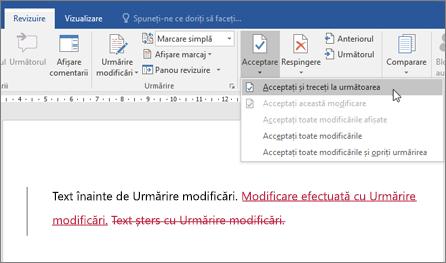 Urmărire modificări în Office 365 Word