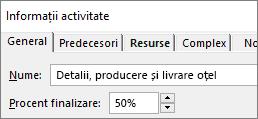 Captură de ecran a casetei de dialog Detalii activitate a unei activități, care afișează procentul de finalizare