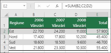 O formulă care utilizează referințe de celule explicite precum =SUM(B2,C2,D2) poate provoca o eroare #REF! dacă o coloană este ștearsă.