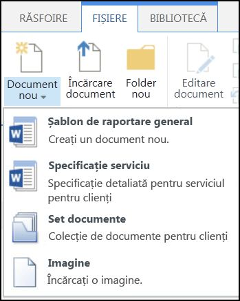 Meniul Document nou cu tipuri de conținut particularizate în SharePoint