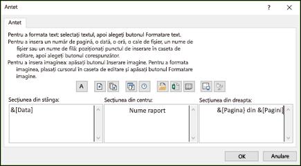 Caseta de dialog Antet particularizat din Inițializare pagină