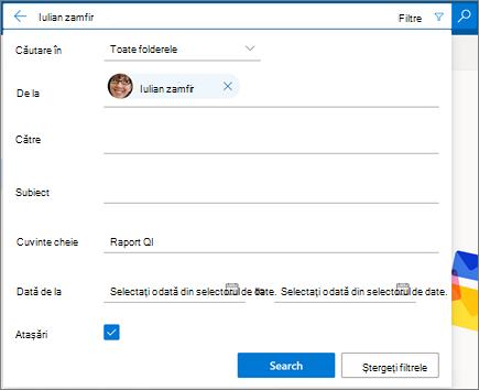 Filtrele de căutare din Outlook pe web