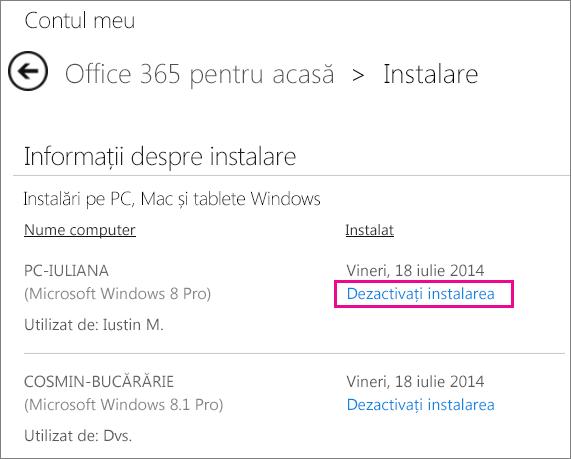 """Captură de ecran cu pagina Instalare, cu linkul """"Dezactivați instalarea"""" selectat."""